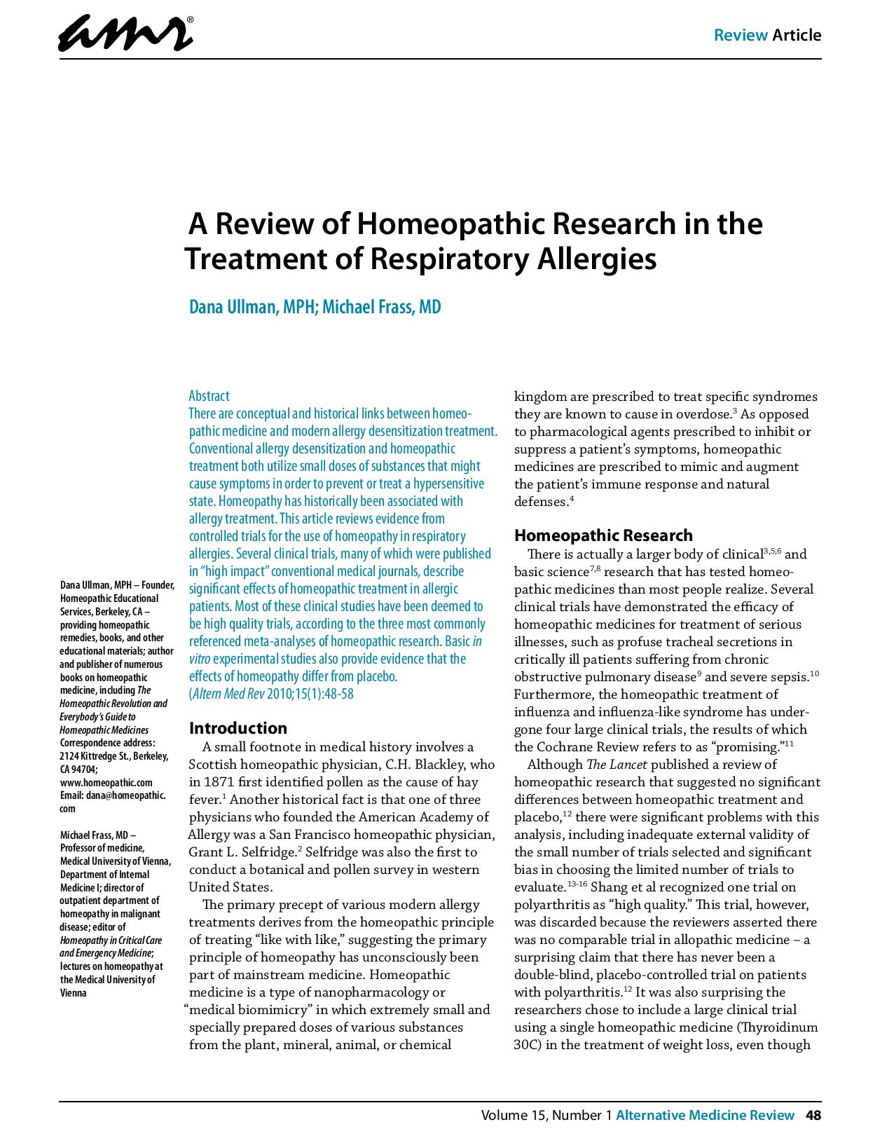 A review of homeopathic research in the treatment of respiratory allergies 2010 page 001