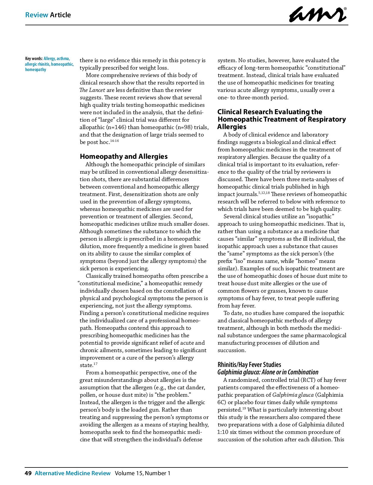 A review of homeopathic research in the treatment of respiratory allergies 2010 page 002