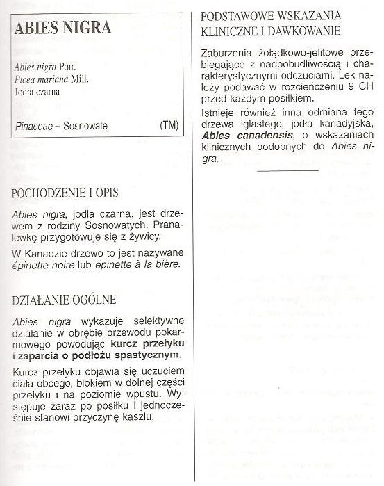 Materia Medica Abies Nigra Homeopatia Polska